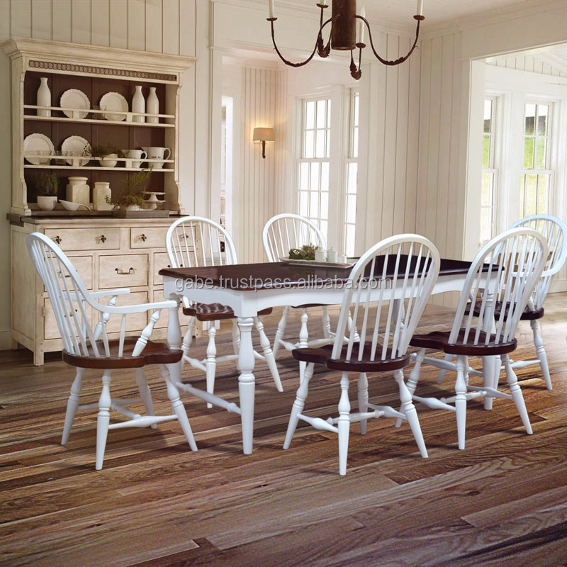 Furniture Dining Table Country Style Solid Wood mahogany two tone color 6 Chairs