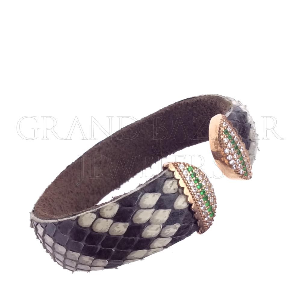 Gem and Crystal Leather Cuff Bracelets GBJ48BR24290