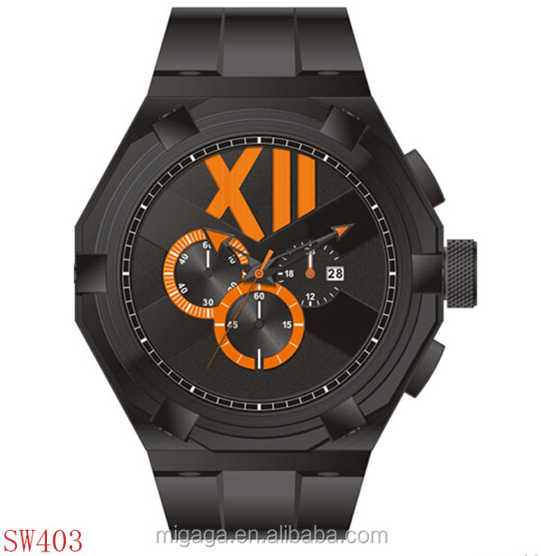 Mens Black Watch Silicone Band Unique Big Face Watch
