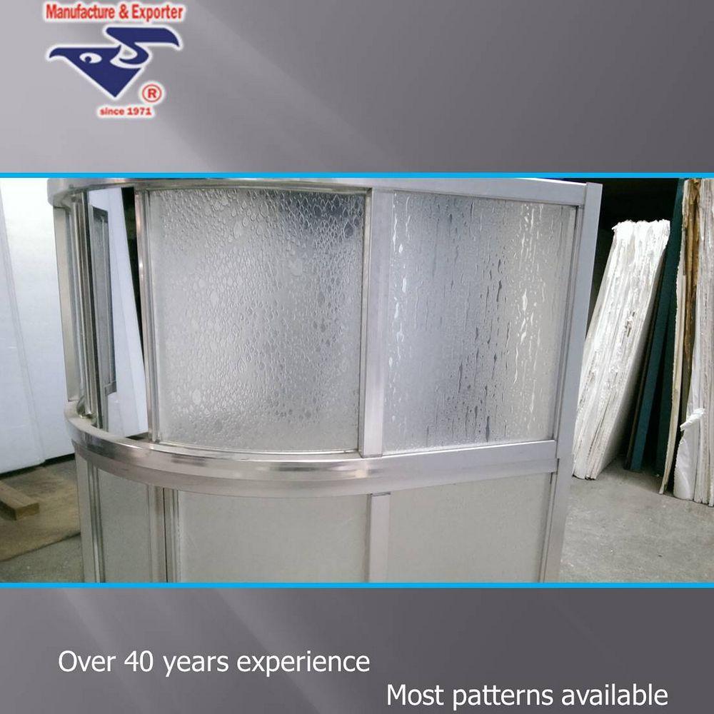 For Bathroom Folding Door Embossed Plastic Shower Door Panel Sheets