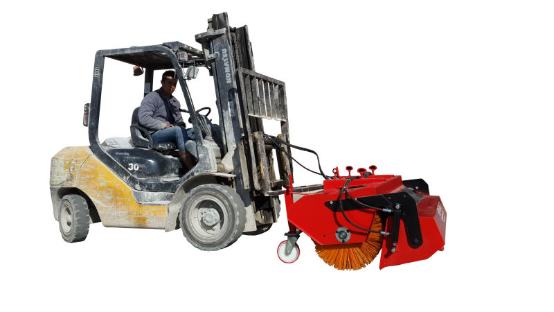 Forklift Mounted Road Sweeper With Bucket Forklift Truck
