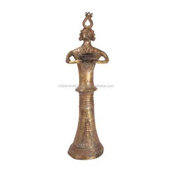 En Laiton Indien Multicolore Bronze Deesse Indienne Femmes Lampe A