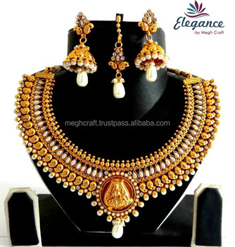 Laxmi Temple Jewelry-South Indian Necklace Set-One Gram Gold Plated Jewellery Set-wholesale south indian jewelry