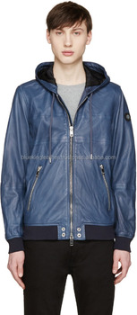 Army Blue Hoody 100% Lamb Napa Leather Jacket