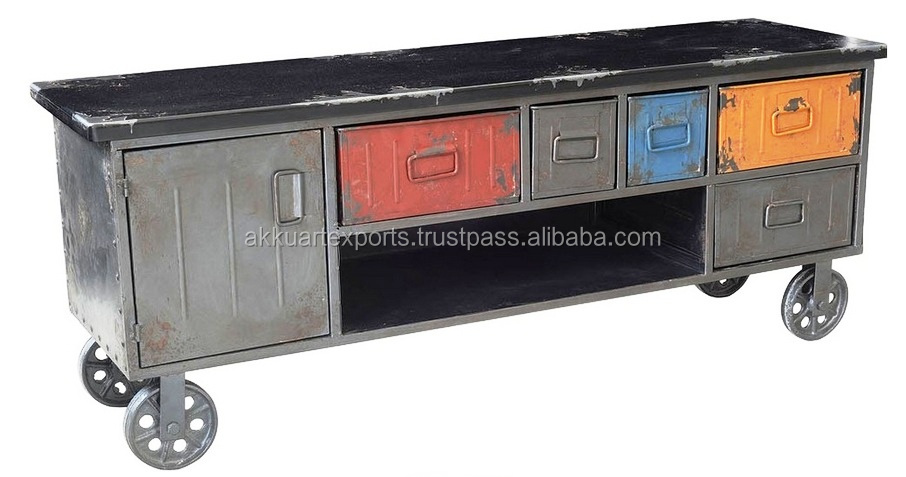Industriale porta tv mobile con cassetti piccolo dell - Mobile tv industrial ...