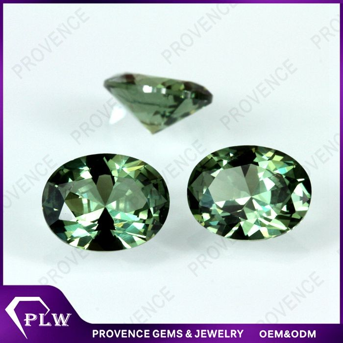 Wuzhou Synthetic Facet Oval Shape Spinel 152# Green Spinel ...