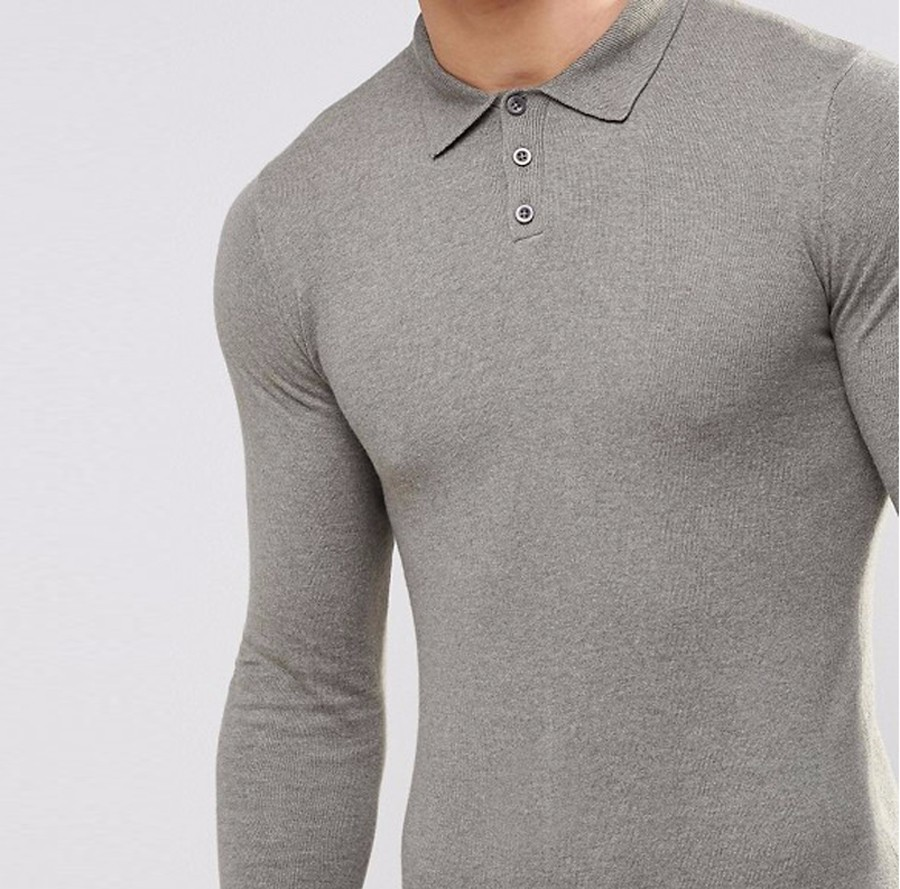 Fashionable classical men's grey color polo t shirt gym sports long sleeve polo