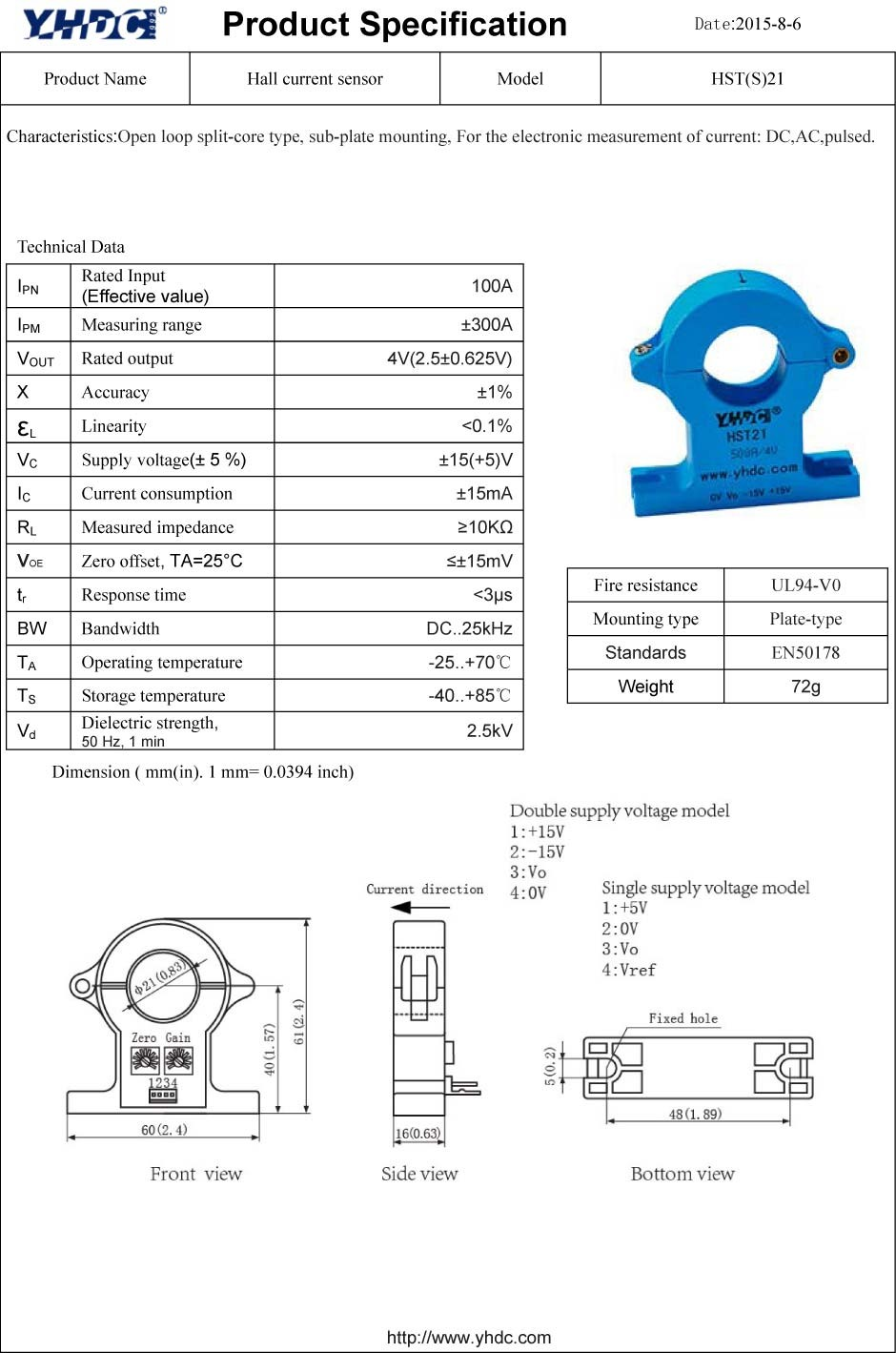 Dc Current Clamp Sensor Split Core Hall Hst21 100a To Measure And Power Using A Effect Transducer 100a4v