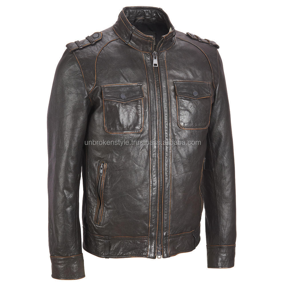Men Leather Fashion Jacket / Men genuine leather jacket
