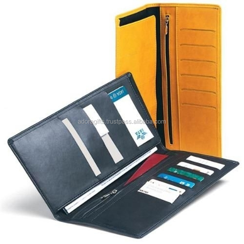 Travel wallet & With Credit Card Holders Yellow Lizard / Smooth Leather Travel wallets / Yellow & Black travel wallets