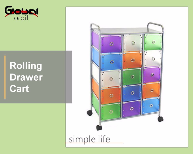 wood drawer cart high quality furniture drawer rack with wheels rolling trolley