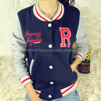 Best Ladies College Varsity Jackets Grey Leather With Navy Blue