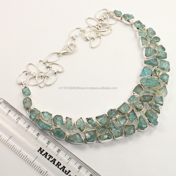 925 Sterling Silver Natural APATITE Raw Rough Gemstones Girl's Fashion Necklace