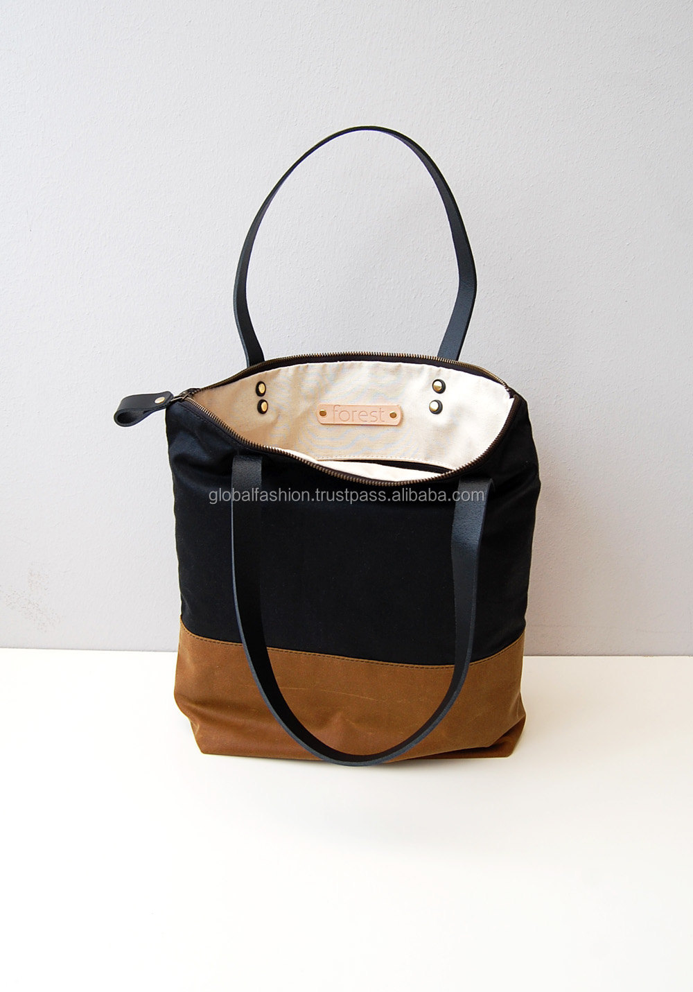 Waxed Canvas Tote Bag With Zipper And Leather Straps Canvas ...