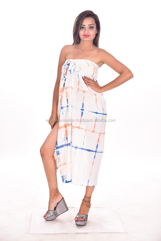 06110d4786db2 Women Sexy Cotton Wrap Dress Sarong Pareo Beach Bikini Swimwear Cover Up  Scarf