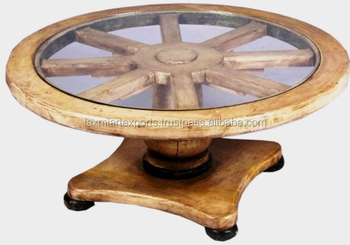 Antique Wagon Wheel Style Round Gl Coffee Table