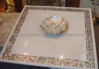 Mother Of Pearl Side Inlay Coffee Table Top Square Marble Inlaid Antique