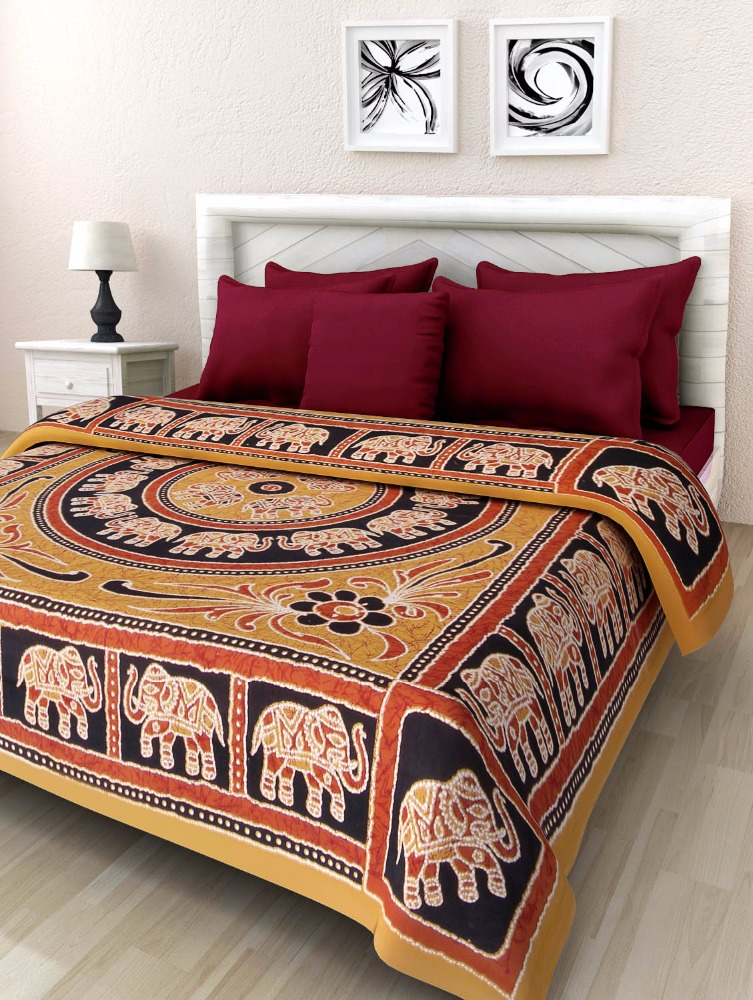 Indian hand block printed bed sheet wholesale home textile cotton fabric bedsheet by The Handicraft House BH-188
