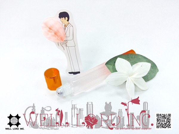 high end Sunset orange light transmissive glass 10ml empty roll on bottles