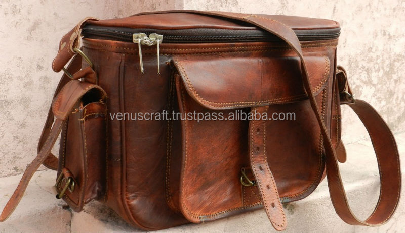 Brown leather vintage style camera bag pure leather bag for camera
