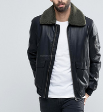 L'europe pilote style bomber <span class=keywords><strong>veste</strong></span> style nouveau hiver hommes <span class=keywords><strong>en</strong></span> <span class=keywords><strong>cuir</strong></span> <span class=keywords><strong>pur</strong></span> avec col de fourrure de mouton <span class=keywords><strong>veste</strong></span> pour hommes