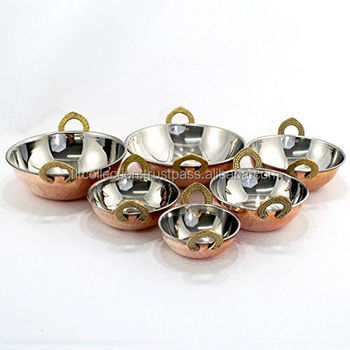 Hammered Copper Kadai Serving Dish - Large - 7 Inch 18 Oz Kitchen Set