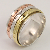Trendy Ring All Size THREE TONE Spinner 10 mm Wide Band 925 Sterling Silver ! Manufacturer