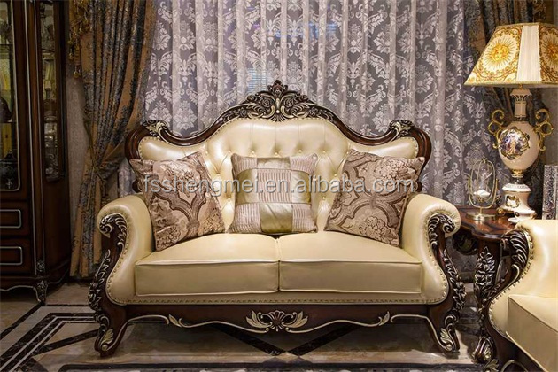 Beautiful New Luxury Wood Sofa Set Classic Design Wood Carving Sofa Charming Leather  Sofas