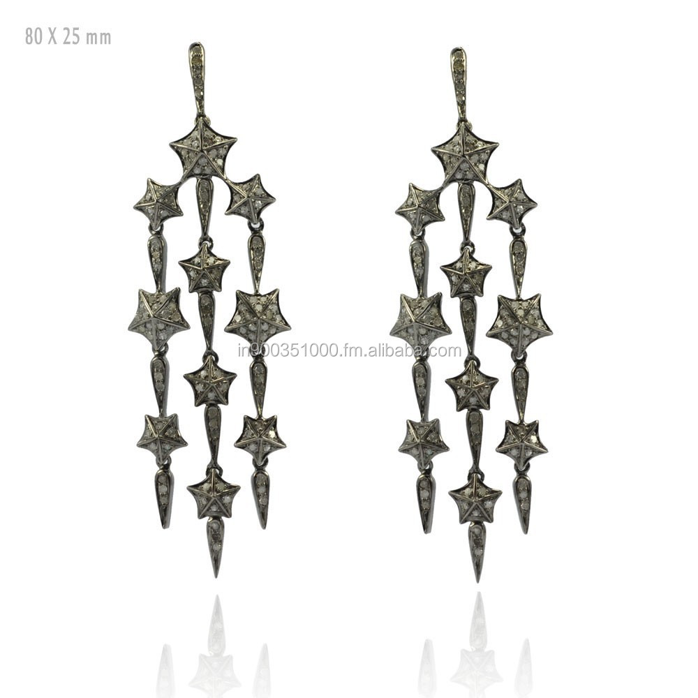 92.5 Sterling Silver Pave Diamond Chandelier Earrings Jewelry Manufacturer Diamond Jewelry Wholesale Supplier