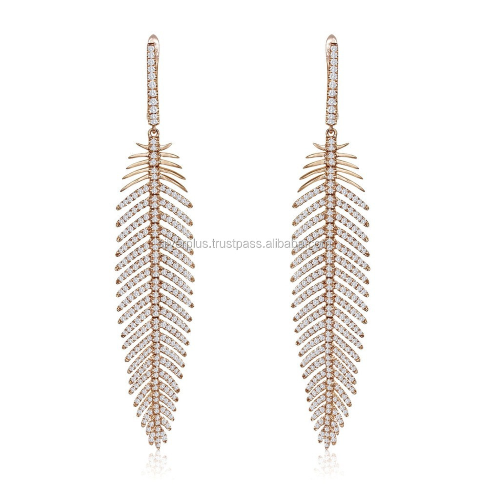18k Solid Yellow Gold Pave Diamond Feather Earrings Fine Jewelry Gold Diamond Earrings Jewelry Manufacturer