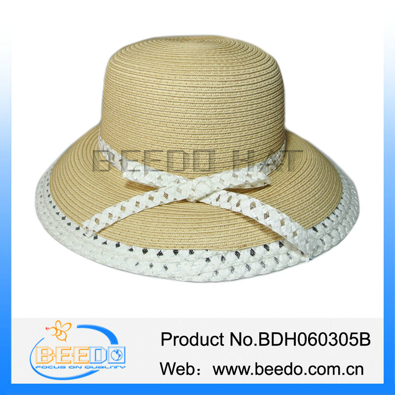 Classical summer 100% paper straw cloche hat with paper bowknot