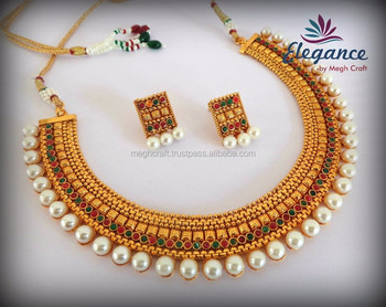 6649d601e South indian pearl jewellery - Traditional One gram gold plated necklace set  - Wholesale bollywood fashion