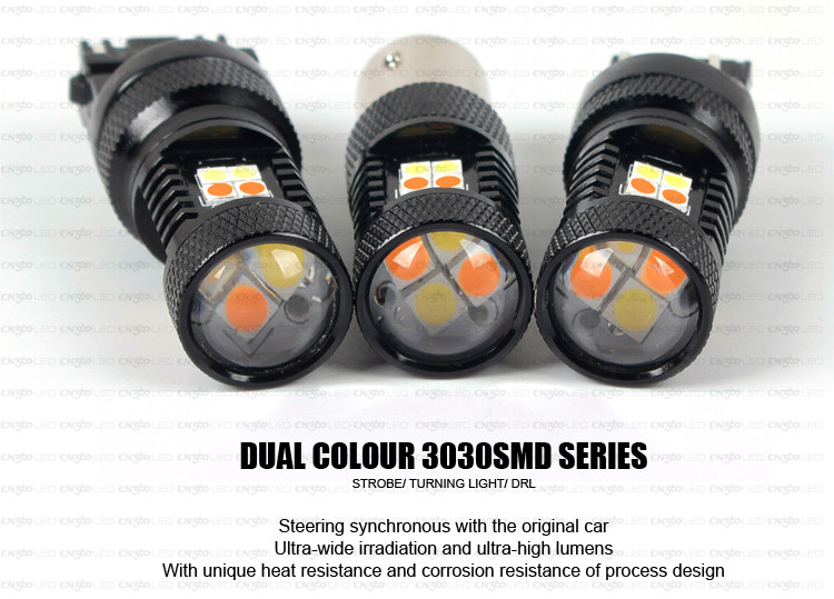 W21-5W 21W 5W W3X16Q 7443 16 smd switchback white / amber led car light