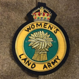 Hand embroidery women land army badge gold silver wire | Embroidery blazer  badges crests | Embroidery bullion badges