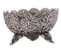 Handmade Carved Beautiful Fruit & Flower White Metal Bowl - Buy ...