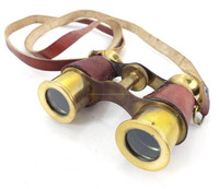 vintage Brass Opera Glasses Binocular with Red Leather encase 12204
