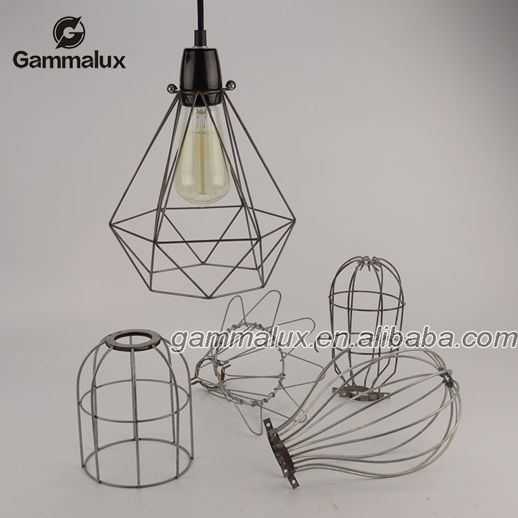 Metal Iron Wire Lamp Bird Bulb Cage Lamp Squirrel Cage Hanging Light ...