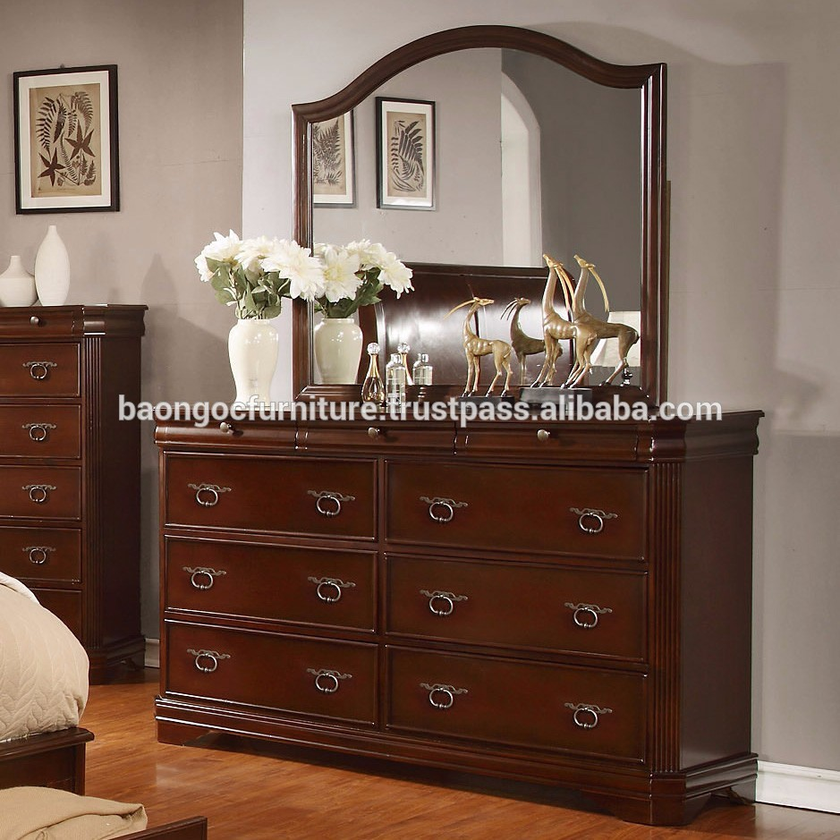 New simple designs modern bedroom dresser furniture wooden mirrored dressing table