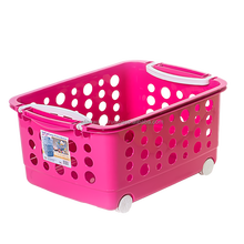 Plastic Kitchen Trolley Basket with Wheels (S)