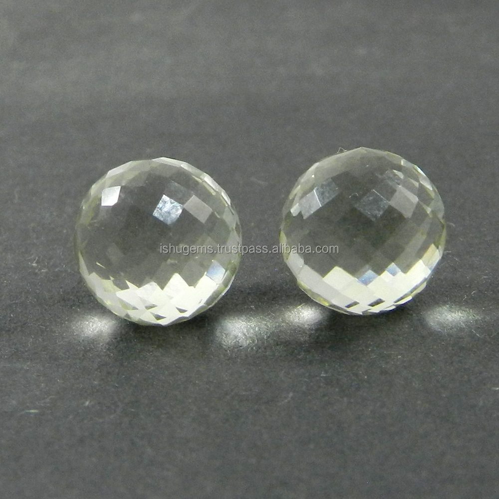 2 pcs Green Amethyst 14.80 Cts, 10mm Without drill Ball Faceted Cut semi precious stones for jewelry IG2381
