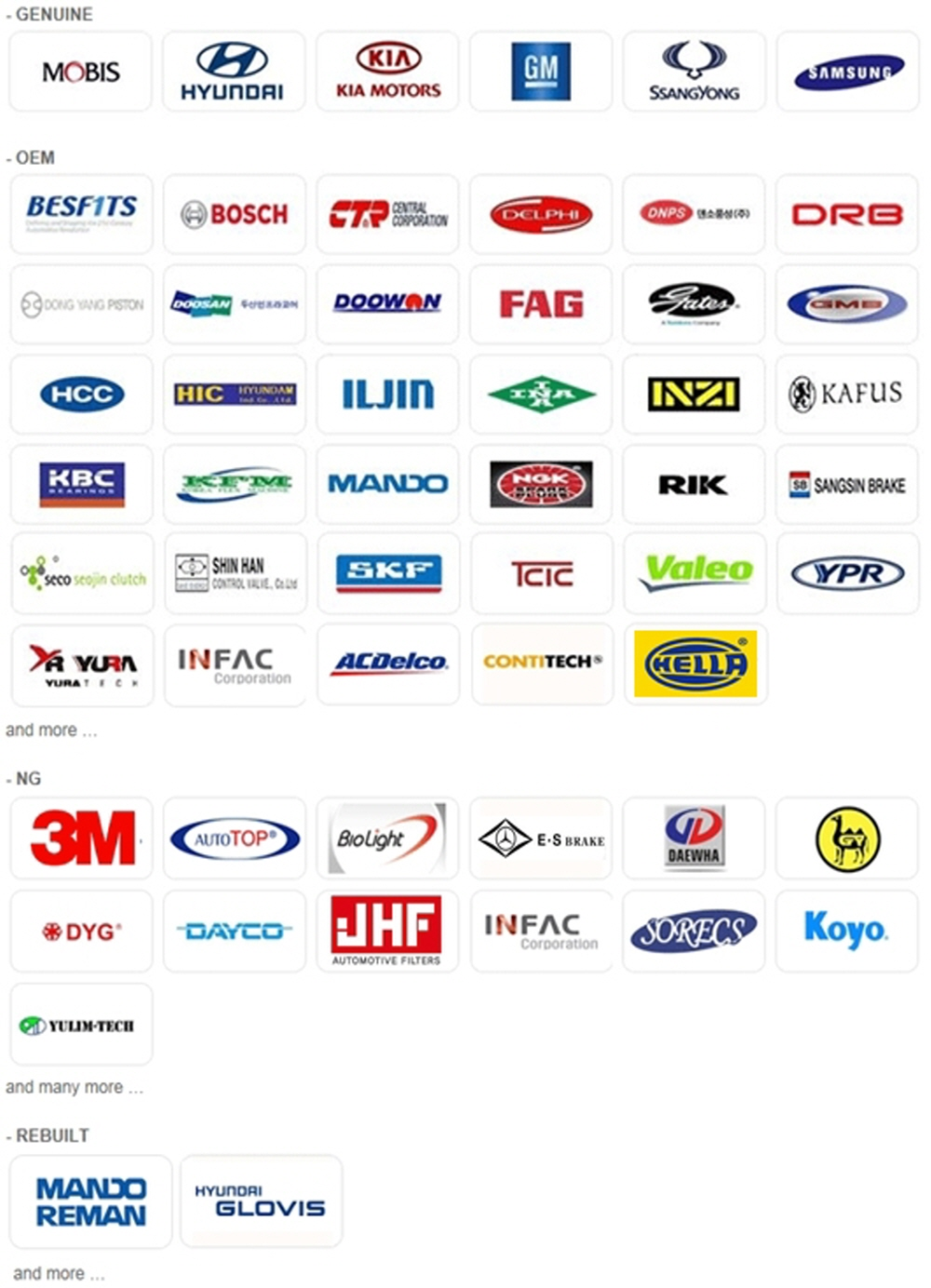 Hyundai Kia Gm Korea Auto Spare Parts Buy Korean Auto