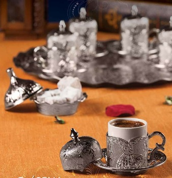 Turkish Coffee Set 6 Cups and Saucers & Circle Tray & Delight Bowl Silver Color