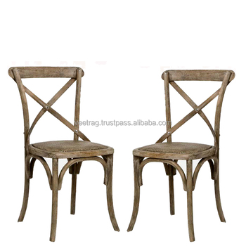 Beau VAE 2007 Vintage French Industrial Decor Chair, Vintage Rustic Wood Finish  With Linen Upholstery