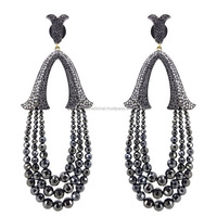 Black Onyx Fashion Beads Earrings Diamond Gemstone Jewelry Manufacturer India