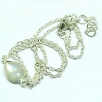 Awesome !! White Drop Pear Rainbow Moonstone 925 Sterling Silver Necklace, Indian Fashion Silver Jewelry, Sterling Silver Jewery