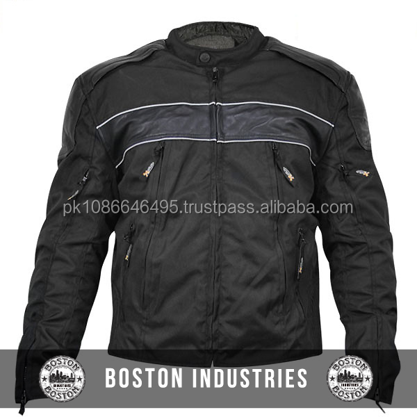 Mens Tri-Tex Leather Jacket Armored Motorcycle Jacket Cordura 600D Textile Jacket NO Customization Limit