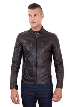 Men S Leather Jacket Made In Italy Nappa Lamb Black Hamilton