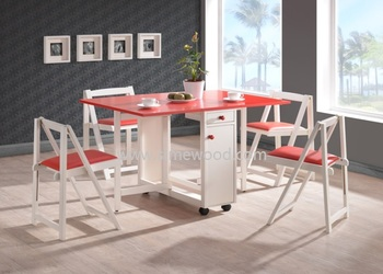 Foldable Mobile Colour Table Set Malaysia Wooden Dining With Wheels Gateleg