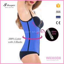 Cheap Blue Steel Boned Latex Waist Trainer Vest Girdles And Body Shapers W0303D8