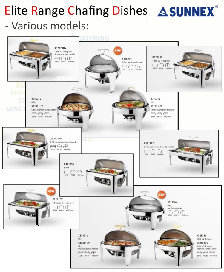 SUNNEX Stainless Steel Full Size Chafing Dish Buffet food warmer Roll Top Chafing Dish, equipment hotel, 8.5L